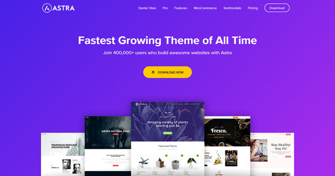 Best Woocommerce theme Astra