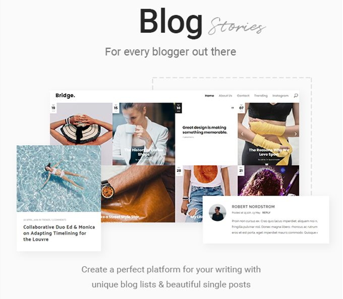 Bridge theme review Portfolios and Blogs