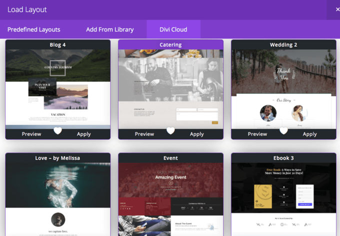 Divi Pre-made layouts and templates