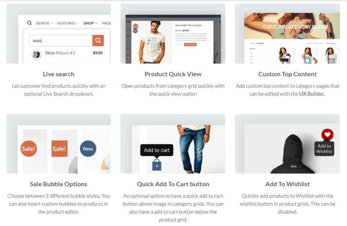 Flatsome Wordpress theme review Woo-features