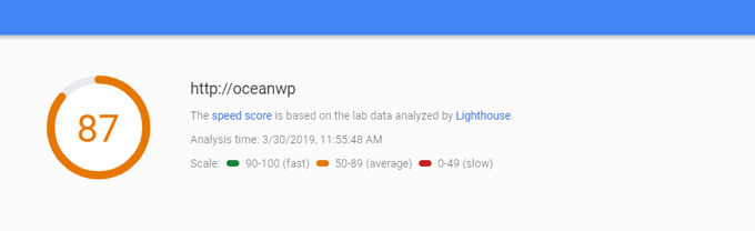 OceanWP loading time at Google Insights