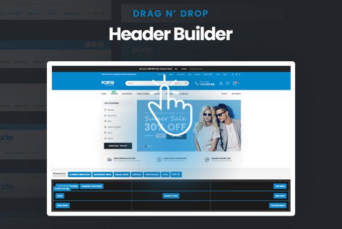 Porto Theme review header builder