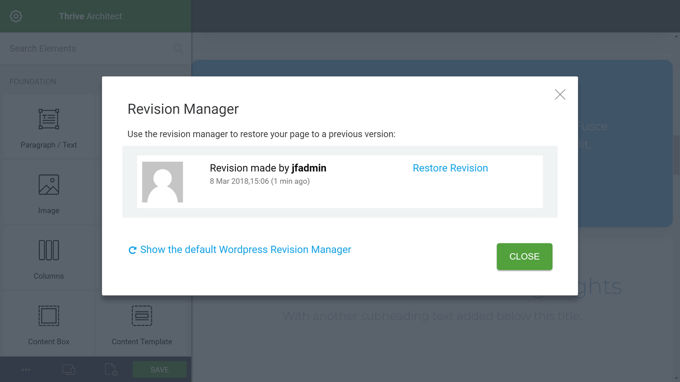 Thrive Architect Review Revision manager