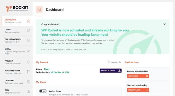 WP-Rocket review clear dashboard