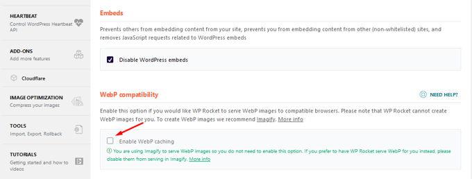 WP-Rocket review WebP images
